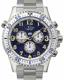 Xezo Air Commando Herren-Armbanduhr, Schweizer Quartz Piloten Taucher Chronograph Uhr, 20 ATM, 2 Zeitzon - 1