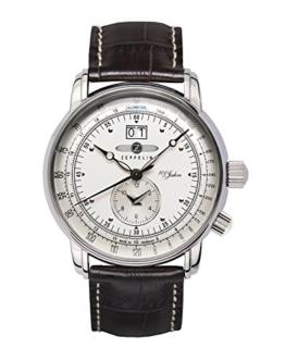 Zeppelin Herren-Armbanduhr Analog Quarz Edelstahl Leder Braun 7640-1 - 1
