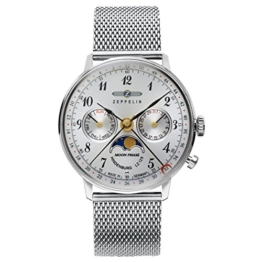 Zeppelin Unisex Chronograph Quarz Uhr mit Edelstahl Armband 7037M-1 - 1