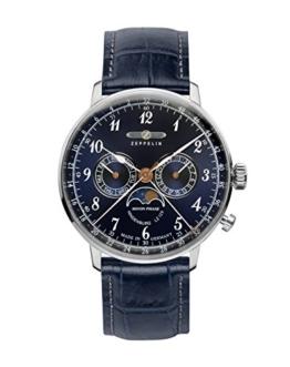 Zeppelin Unisex Chronograph Quarz Uhr mit Leder Armband 7036-3 - 1