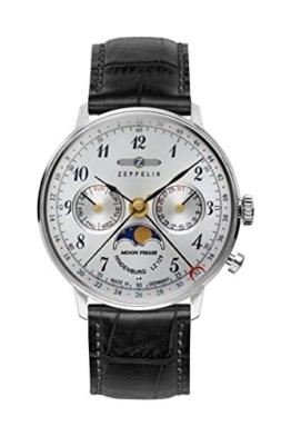 Zeppelin Unisex Chronograph Quarz Uhr mit Leder Armband 7037-1 - 1