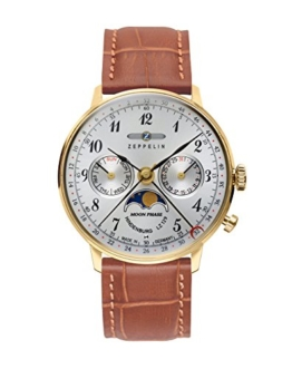 Zeppelin Unisex Chronograph Quarz Uhr mit Leder Armband 7039-1 - 1