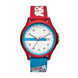 Armani Exchange Herren Analog Quarz Uhr mit Silikon Armband AX2409 - 1