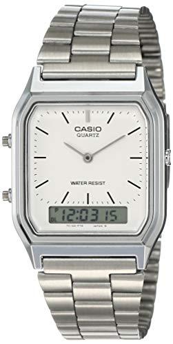 Casio Collection Herren Analog/Digital Quarz mit Edelstahlarmband – AQ-230A-7BMQYES, Silber (Zifferblatt: Weiß) - 1