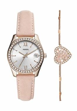 Fossil Damen Analog Quarz Uhr mit Leder Armband ES4607SET - 1