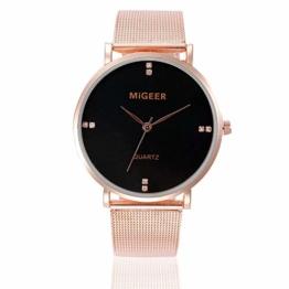 Jyuter12 Damenuhr Herren Edelstahlgewebe Armbanduhr Quarz Beiläufige Uhr - 1