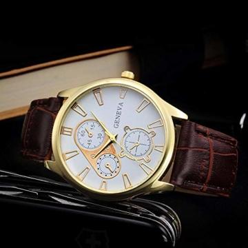 Jyuter12 Herren Gold Steel Dial Quarzuhr Herrenarmband Business Watch Sportuhr - 4