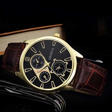 Jyuter12 Herren Gold Steel Dial Quarzuhr Herrenarmband Business Watch Sportuhr - 7