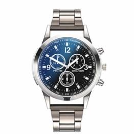 Notdark Herren Uhren Armbanduhr Edelstahl Mode Einzigartige Digital Literal Multi Layer Dial Männer Quarz Mesh GüRtel Uhr (B) - 1