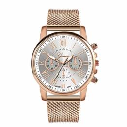 Notdark Unisex Uhren Armbanduhr Edelstahl Fashion Einzigartige Digital Literal Multi Layer Dial Männer Quarz Mesh GüRtel Uhr (Weiß) - 1