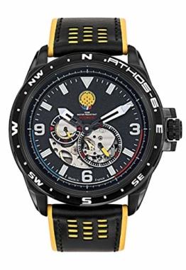 Patrouille de France Athos6 Herren-Armbanduhr, automatisch, Stahl, Leder, Schwarz, A6-100SCS-668067 - 1