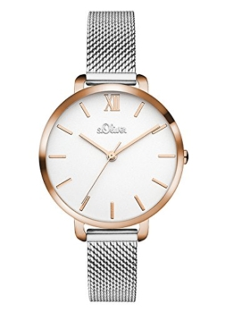 s.Oliver Damen Analog Quarz Uhr mit Edelstahl Armband SO-3454-MQ - 1