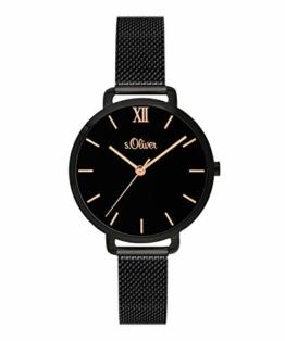 s.Oliver Damen-Armbanduhr Analog Quarz Edelstahl (Schwarz) SO-3664-MQ - 1