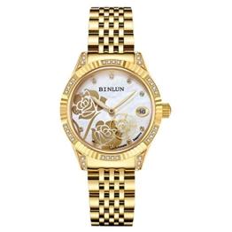 Binlun Damen-Armbanduhr Hand Besetzt mit Diamanten Rosen-Design Automatik-Uhrwerk Gold Zwei Zeiger Wasserdicht Perlmutt-Zifferblatt - 1
