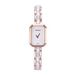 Binlun Damen Original Schweizer Quarz Elegante kleine quadratisch schwarz Zifferblatt 30 m wasserabweisend Armbanduhr - 1