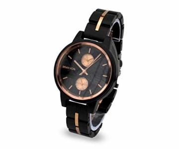 Branvon Daarin Holzuhr für Damen - Holz Armbanduhr Analog - Quarzuhr mit Chronographen und Saphirglas aus schwarzem Ebenholz und echtem Marmor- Damenuhren aus Holz - 2
