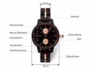 Branvon Daarin Holzuhr für Damen - Holz Armbanduhr Analog - Quarzuhr mit Chronographen und Saphirglas aus schwarzem Ebenholz und echtem Marmor- Damenuhren aus Holz - 3
