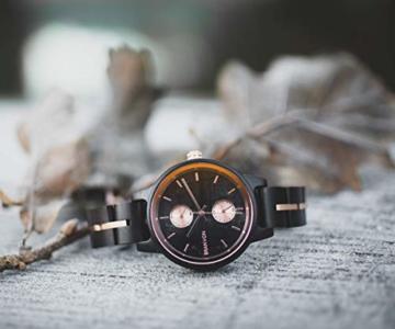 Branvon Daarin Holzuhr für Damen - Holz Armbanduhr Analog - Quarzuhr mit Chronographen und Saphirglas aus schwarzem Ebenholz und echtem Marmor- Damenuhren aus Holz - 4