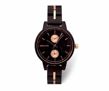 Branvon Daarin Holzuhr für Damen - Holz Armbanduhr Analog - Quarzuhr mit Chronographen und Saphirglas aus schwarzem Ebenholz und echtem Marmor- Damenuhren aus Holz - 1