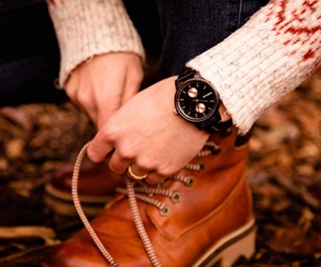 Branvon Daarin Holzuhr für Damen - Holz Armbanduhr Analog - Quarzuhr mit Chronographen und Saphirglas aus schwarzem Ebenholz und echtem Marmor- Damenuhren aus Holz - 5