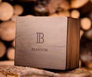 Branvon Daarin Holzuhr für Damen - Holz Armbanduhr Analog - Quarzuhr mit Chronographen und Saphirglas aus schwarzem Ebenholz und echtem Marmor- Damenuhren aus Holz - 6