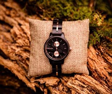 Branvon Daarin Holzuhr für Damen - Holz Armbanduhr Analog - Quarzuhr mit Chronographen und Saphirglas aus schwarzem Ebenholz und echtem Marmor- Damenuhren aus Holz - 7