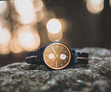 Branvon Daarin Holzuhr für Damen - Holz Armbanduhr Analog - Quarzuhr mit Chronographen und Saphirglas aus schwarzem Ebenholz und echtem Marmor- Damenuhren aus Holz - 8