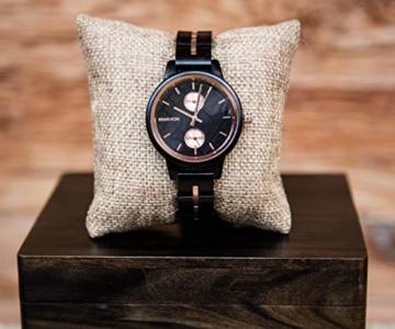 Branvon Daarin Holzuhr für Damen - Holz Armbanduhr Analog - Quarzuhr mit Chronographen und Saphirglas aus schwarzem Ebenholz und echtem Marmor- Damenuhren aus Holz - 9
