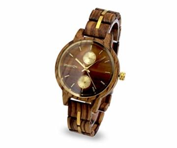 Branvon Divra Holzuhr für Damen - Quarzuhr mit Chronographen und Saphirglas aus exotisches Zebranoholz und echtem Marmor - Holz Armbanduhr Analog - Uhren für Frauen - 2