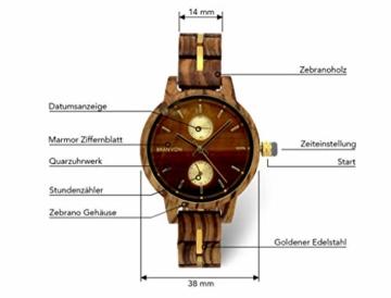 Branvon Divra Holzuhr für Damen - Quarzuhr mit Chronographen und Saphirglas aus exotisches Zebranoholz und echtem Marmor - Holz Armbanduhr Analog - Uhren für Frauen - 3