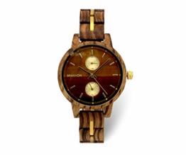 Branvon Divra Holzuhr für Damen - Quarzuhr mit Chronographen und Saphirglas aus exotisches Zebranoholz und echtem Marmor - Holz Armbanduhr Analog - Uhren für Frauen - 1