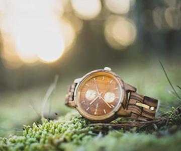 Branvon Divra Holzuhr für Damen - Quarzuhr mit Chronographen und Saphirglas aus exotisches Zebranoholz und echtem Marmor - Holz Armbanduhr Analog - Uhren für Frauen - 4