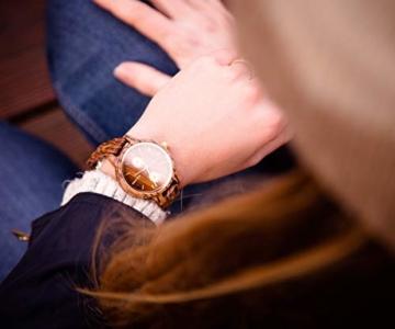 Branvon Divra Holzuhr für Damen - Quarzuhr mit Chronographen und Saphirglas aus exotisches Zebranoholz und echtem Marmor - Holz Armbanduhr Analog - Uhren für Frauen - 5