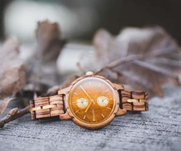 Branvon Divra Holzuhr für Damen - Quarzuhr mit Chronographen und Saphirglas aus exotisches Zebranoholz und echtem Marmor - Holz Armbanduhr Analog - Uhren für Frauen - 7