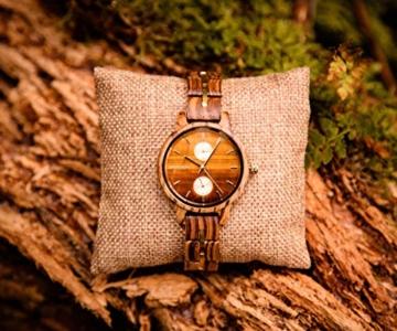 Branvon Divra Holzuhr für Damen - Quarzuhr mit Chronographen und Saphirglas aus exotisches Zebranoholz und echtem Marmor - Holz Armbanduhr Analog - Uhren für Frauen - 8