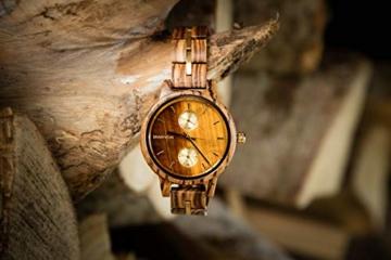 Branvon Divra Holzuhr für Damen - Quarzuhr mit Chronographen und Saphirglas aus exotisches Zebranoholz und echtem Marmor - Holz Armbanduhr Analog - Uhren für Frauen - 9