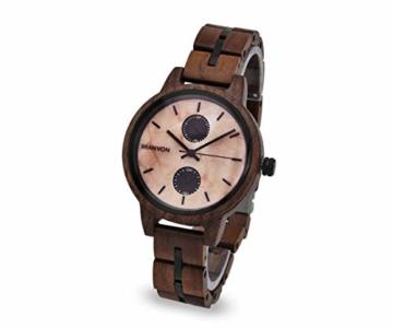 Branvon Domea Holzuhr für Damen - Armbanduhr Analog Uhr - Quarzuhr mit Chronographen und Saphirglas aus dunklem Walnussholz und echtem Marmor - Damenuhren - 2