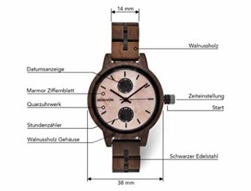 Branvon Domea Holzuhr für Damen - Armbanduhr Analog Uhr - Quarzuhr mit Chronographen und Saphirglas aus dunklem Walnussholz und echtem Marmor - Damenuhren - 3