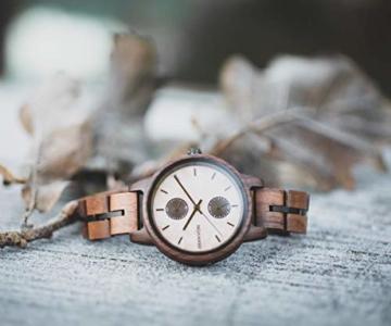 Branvon Domea Holzuhr für Damen - Armbanduhr Analog Uhr - Quarzuhr mit Chronographen und Saphirglas aus dunklem Walnussholz und echtem Marmor - Damenuhren - 4