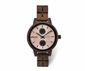 Branvon Domea Holzuhr für Damen - Armbanduhr Analog Uhr - Quarzuhr mit Chronographen und Saphirglas aus dunklem Walnussholz und echtem Marmor - Damenuhren - 1