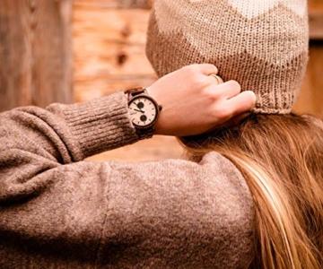 Branvon Domea Holzuhr für Damen - Armbanduhr Analog Uhr - Quarzuhr mit Chronographen und Saphirglas aus dunklem Walnussholz und echtem Marmor - Damenuhren - 5
