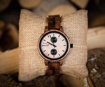 Branvon Domea Holzuhr für Damen - Armbanduhr Analog Uhr - Quarzuhr mit Chronographen und Saphirglas aus dunklem Walnussholz und echtem Marmor - Damenuhren - 6