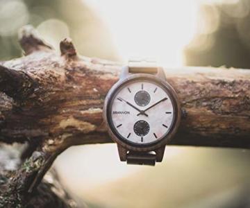 Branvon Domea Holzuhr für Damen - Armbanduhr Analog Uhr - Quarzuhr mit Chronographen und Saphirglas aus dunklem Walnussholz und echtem Marmor - Damenuhren - 8