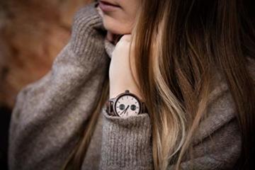 Branvon Domea Holzuhr für Damen - Armbanduhr Analog Uhr - Quarzuhr mit Chronographen und Saphirglas aus dunklem Walnussholz und echtem Marmor - Damenuhren - 9