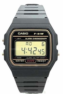 CASIO Herren Digital Uhr mit Harz Armband F-91WG-9QEF - 1