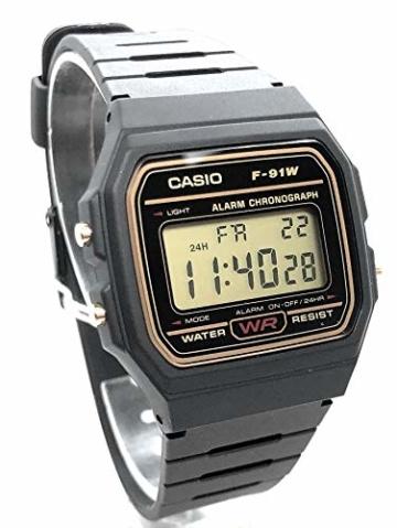 CASIO Herren Digital Uhr mit Harz Armband F-91WG-9QEF - 3