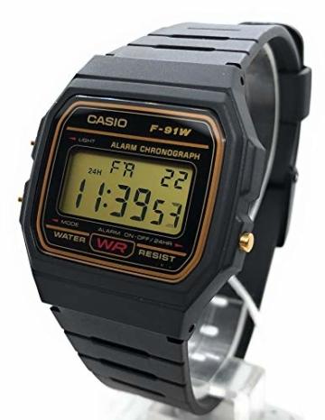 CASIO Herren Digital Uhr mit Harz Armband F-91WG-9QEF - 4
