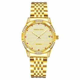 Prince Gera 18 Karat vergoldete Damenuhren Automatikdiamant Mechanikuhr Kalenderuhr mit goldenem Kristallkleid Armbanduhren für Damen - 1