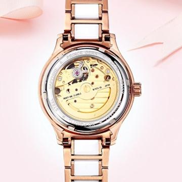 Prince Gera Damenuhr Keramik automatische Diamanten Kleid Armbanduhr für Damen Geschenk (Rose Gold) - 2