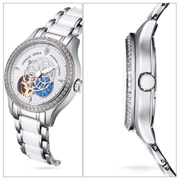 Prince Gera Damenuhr Keramik automatische Diamanten Kleid Armbanduhr für Damen Geschenk (Silber) - 4